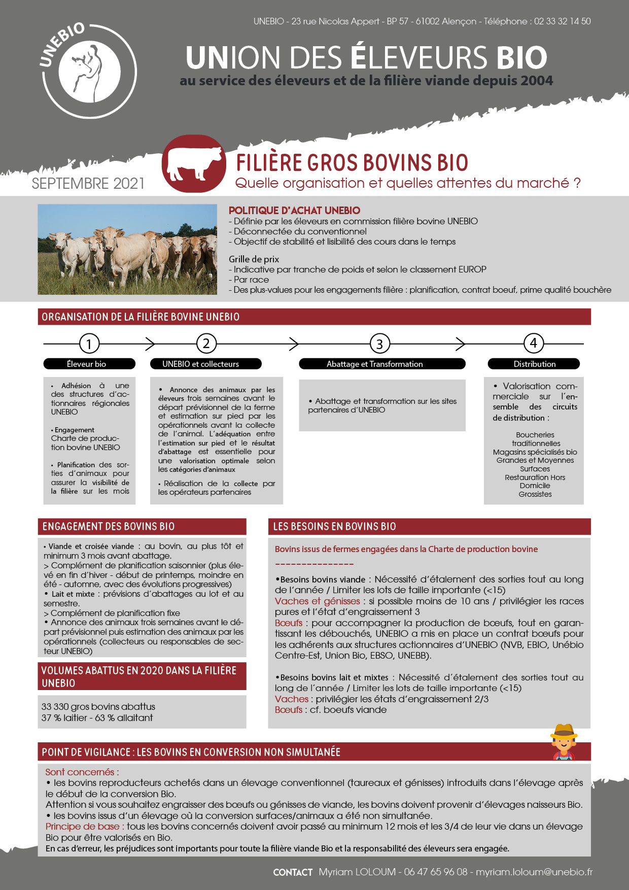 Fiche technique filière bovine UNEBIO